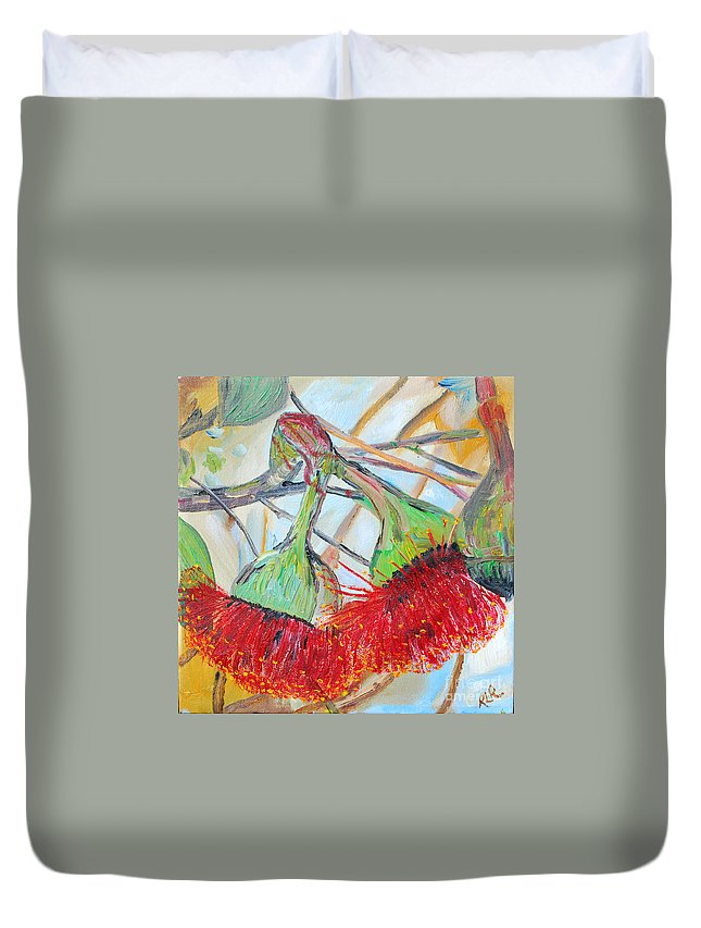 Flowers Duvet Cover featuring the painting Eucalyptus Flowers by Reina Resto
