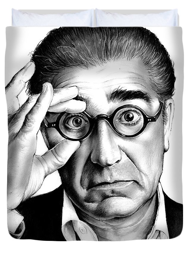 Eugene Levy Duvet Cover featuring the drawing Eugene Levy by Greg Joens