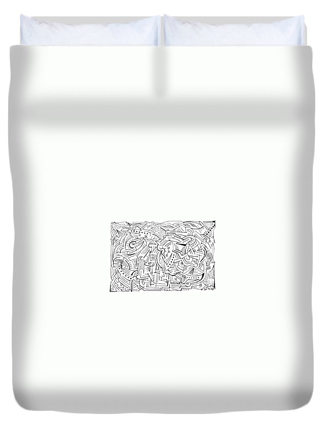 Mazes Duvet Cover featuring the drawing Euphonious by Steven Natanson