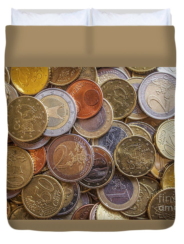 Euro Duvet Cover featuring the photograph Euro Coins by D R