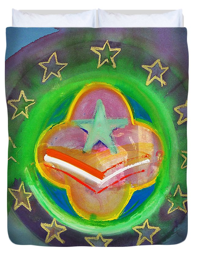 Symbol Duvet Cover featuring the painting Euro Star And Stripes by Charles Stuart