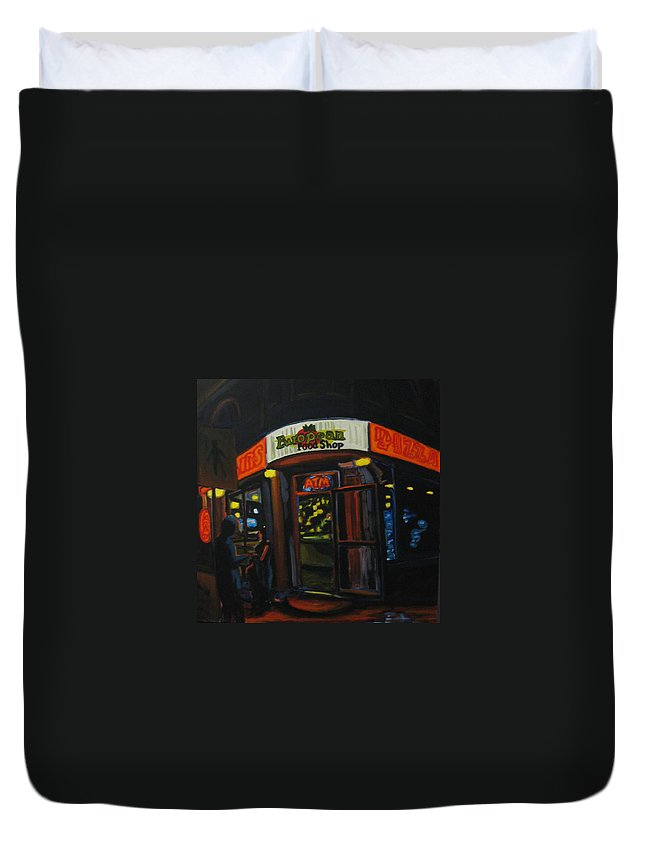 City Duvet Cover featuring the painting European Food Shop by John Malone