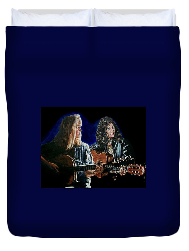 Katie Melua Duvet Cover featuring the painting Eva Cassidy And Katie Melua by Bryan Bustard