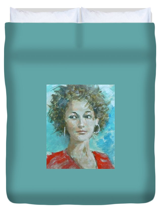 Portrait Duvet Cover featuring the painting Eva II by Bart Buijsen