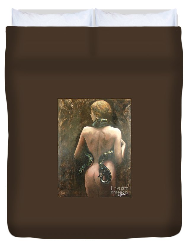 Art Duvet Cover featuring the painting Eva by Sergey Ignatenko