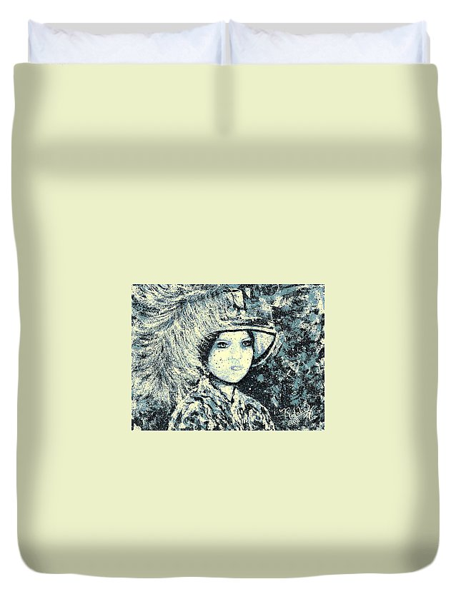 Woman Duvet Cover featuring the painting Evalina by Natalie Holland