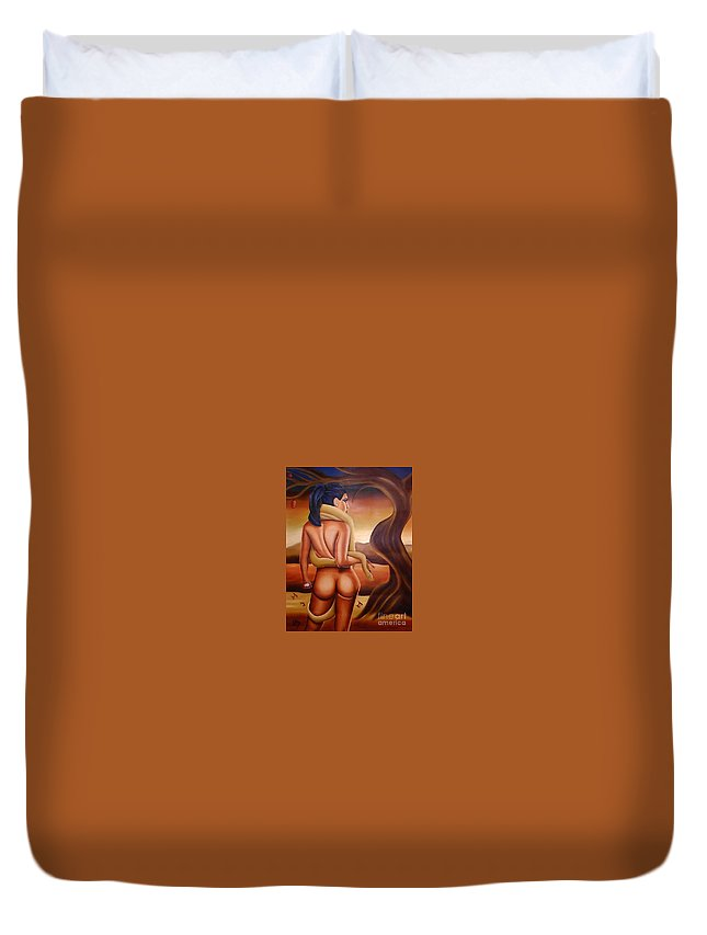 Eve Duvet Cover featuring the painting Eve by Tom Odle