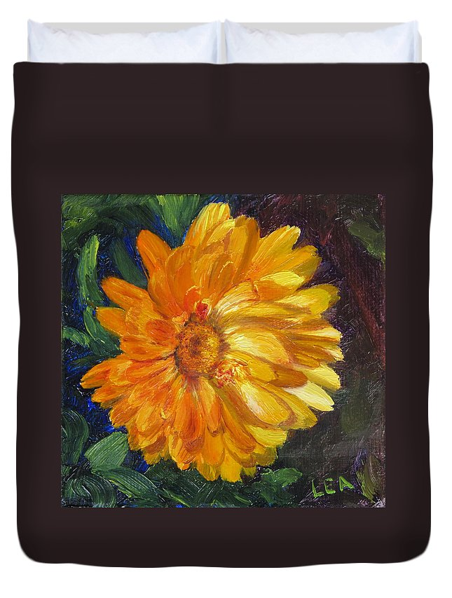 Flower Painting Duvet Cover featuring the painting Even The Flowers In Autumn Are Golden by Lea Novak