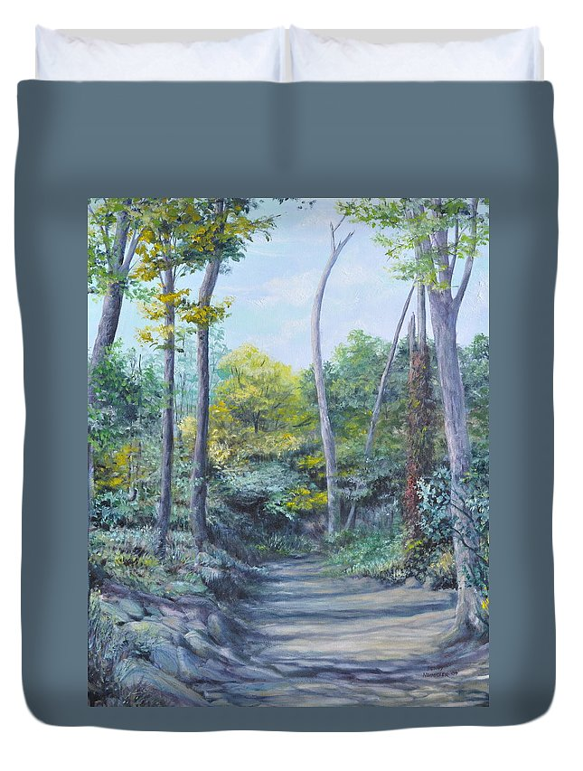 Oil Painting Duvet Cover featuring the painting Even The Trees Praise by Penny Neimiller