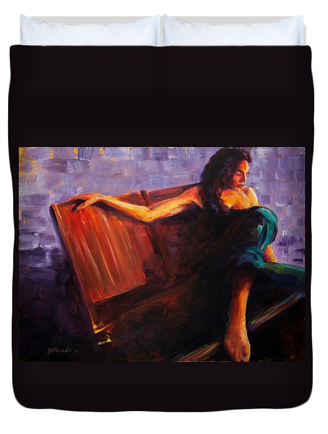 Figure Duvet Cover featuring the painting Even Though by Jason Reinhardt