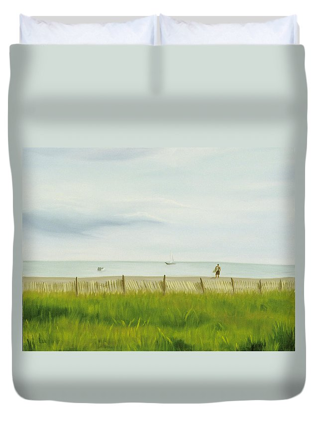 Seascape Duvet Cover featuring the painting Evening at Cape May by Lea Novak