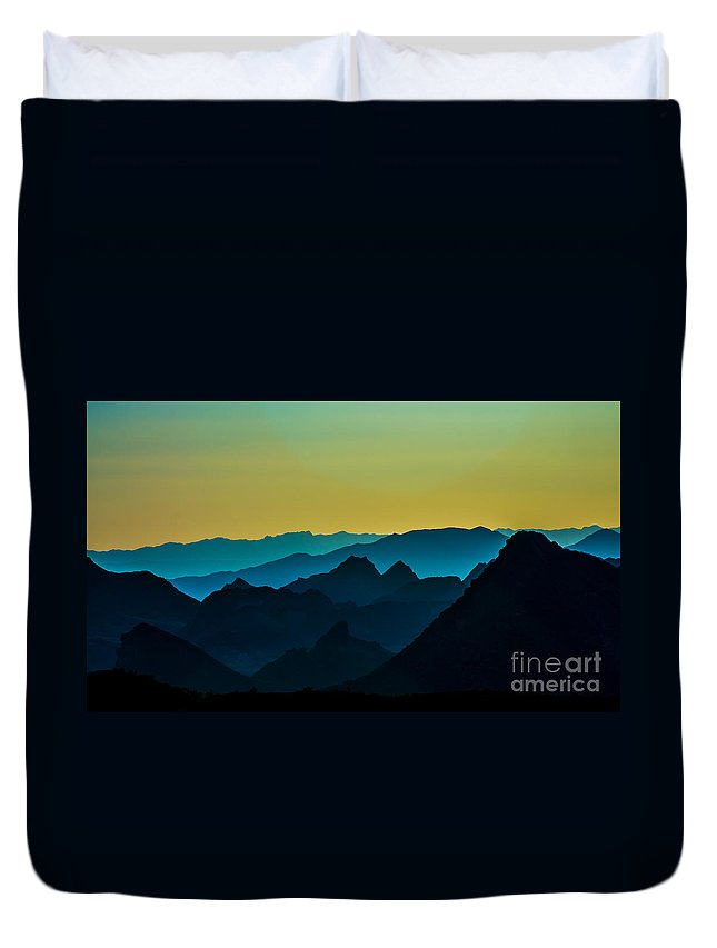 Mountains Duvet Cover featuring the photograph Evening At Lake Mead by Stephen Whalen