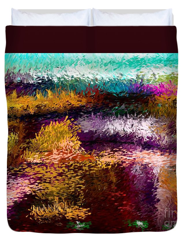 Abstract Duvet Cover featuring the digital art Evening At The Pond by David Lane