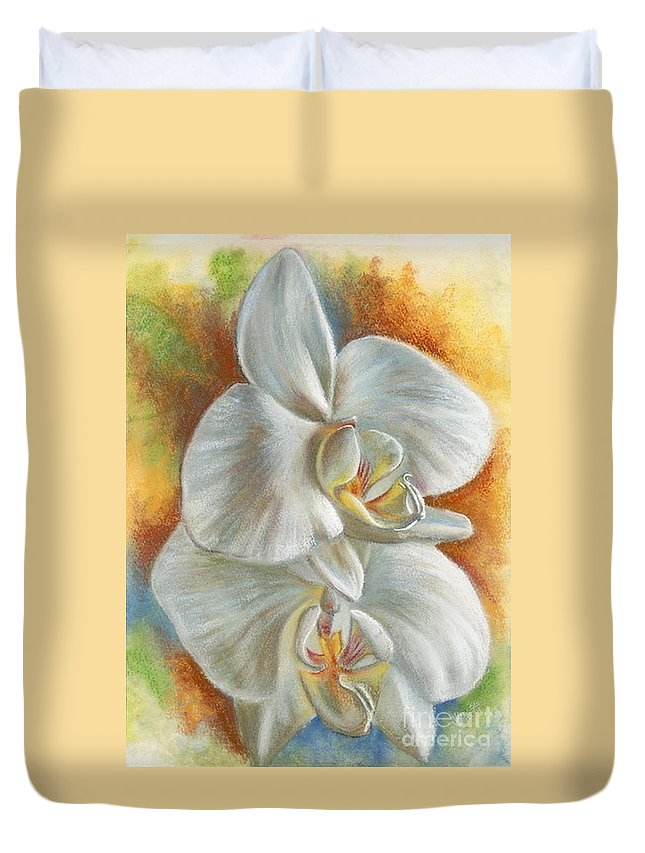 Orchid Duvet Cover featuring the mixed media Evening by Barbara Keith