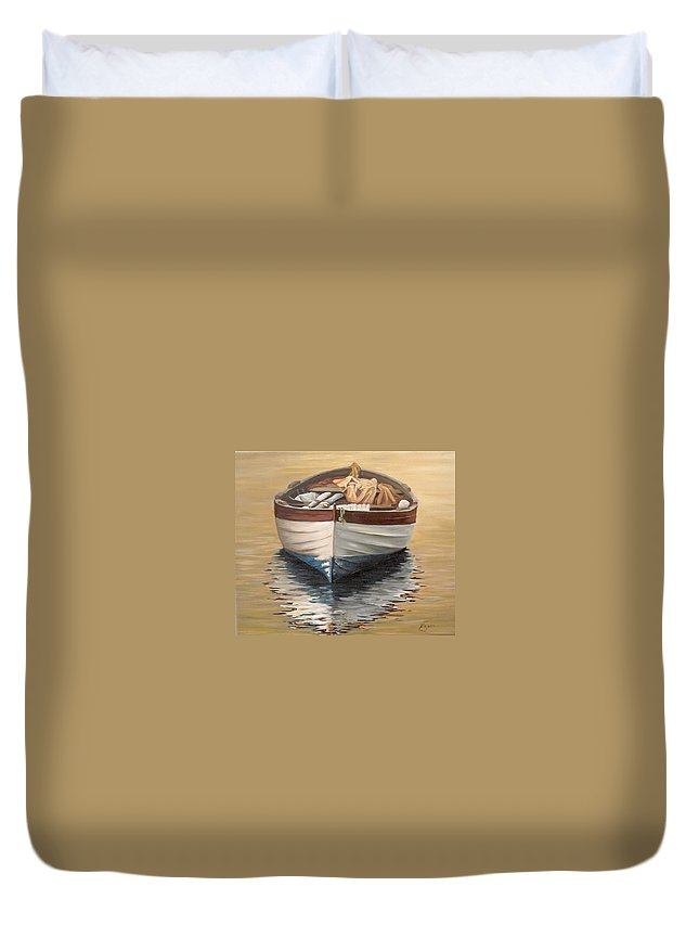 Boats Reflection Seascape Water Duvet Cover featuring the painting Evening Boat by Natalia Tejera