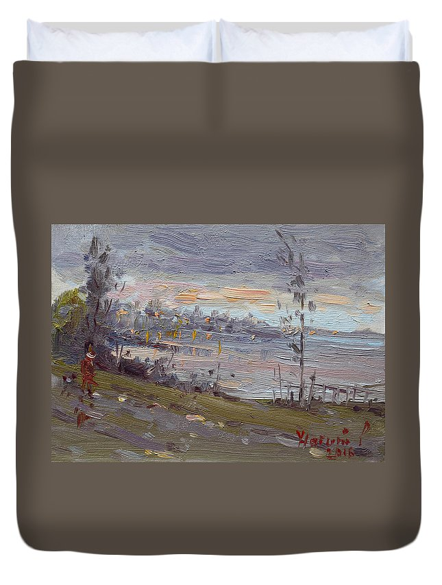Evening Duvet Cover featuring the painting Evening By The River by Ylli Haruni