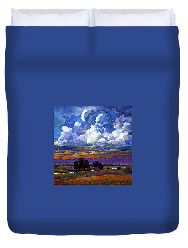 Landscape Duvet Cover featuring the painting Evening Clouds Over The Prairie by John Lautermilch