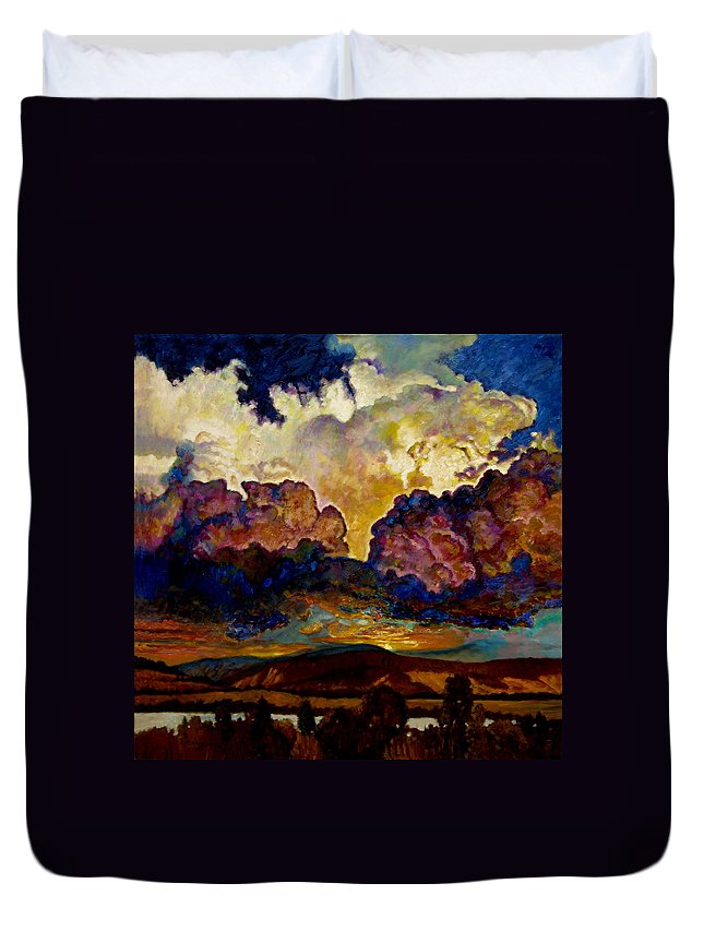 Sunset Duvet Cover featuring the painting Evening Clouds Over The Valley by John Lautermilch