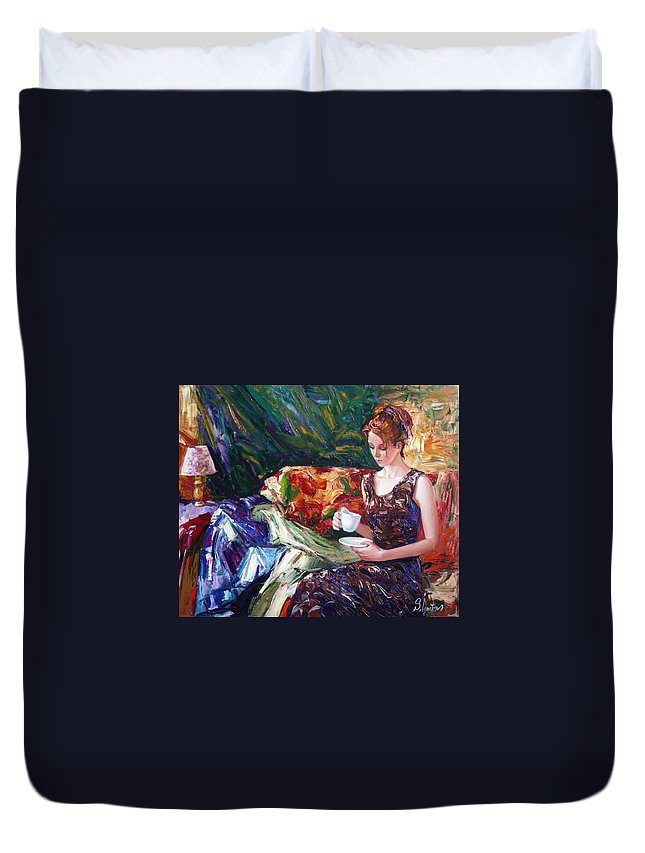 Figurative Duvet Cover featuring the painting Evening Coffee by Sergey Ignatenko