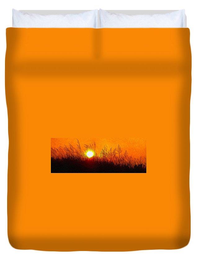 Landscape Duvet Cover featuring the photograph Evening Dunes Impasto by Steve Harrington