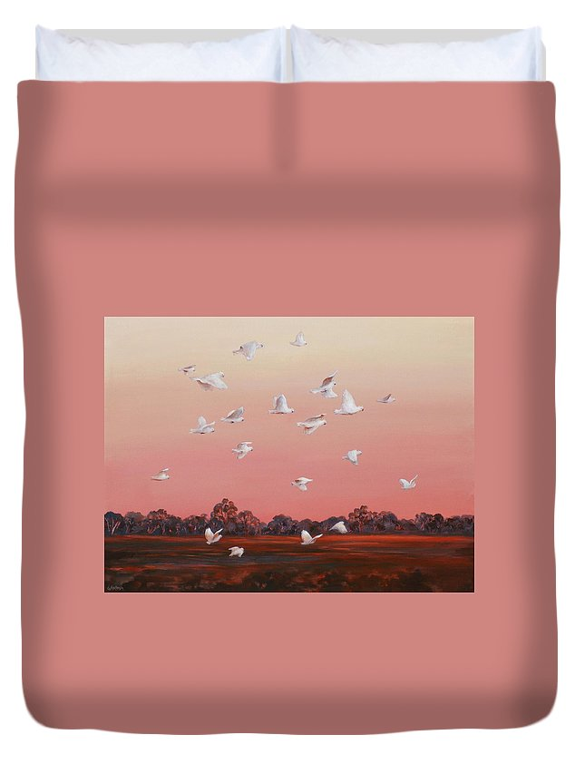 Birds Duvet Cover featuring the painting Evening Flight by Ekaterina Mortensen