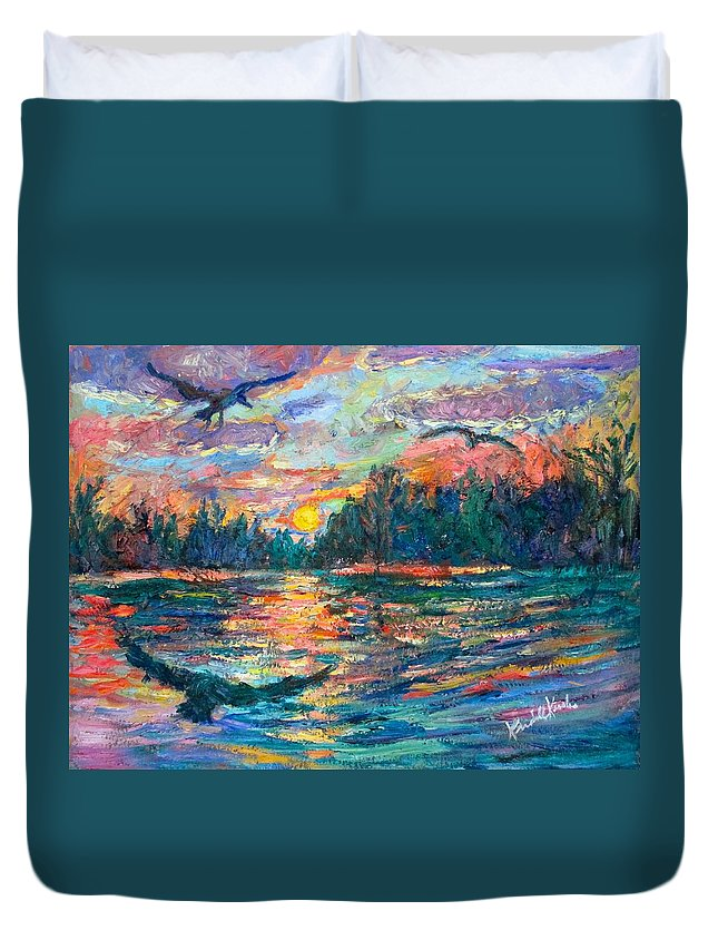 Landscape Duvet Cover featuring the painting Evening Flight by Kendall Kessler