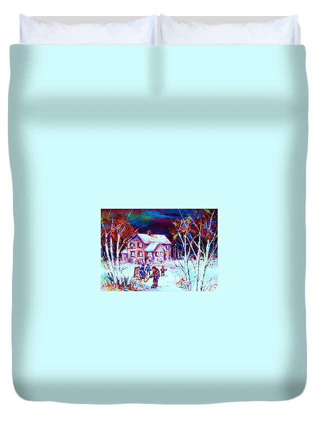 Hockey Game In The Country Duvet Cover featuring the painting Evening Game At The Chalet by Carole Spandau