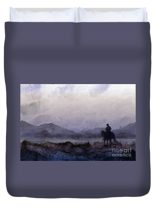Horseback Ride Duvet Cover featuring the painting Evening Horseback Ride by Judy Filarecki