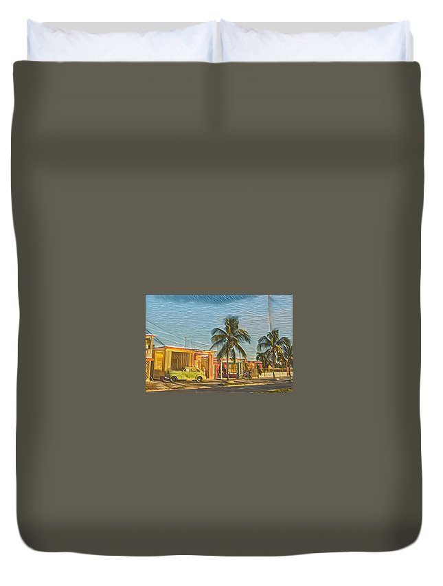 Painting Duvet Cover featuring the digital art Evening In Cuba by David Frigerio