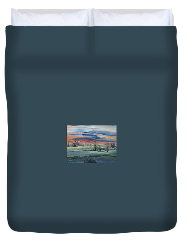 Landscape Duvet Cover featuring the painting Evening In Fishcreek Park by Anna Duyunova