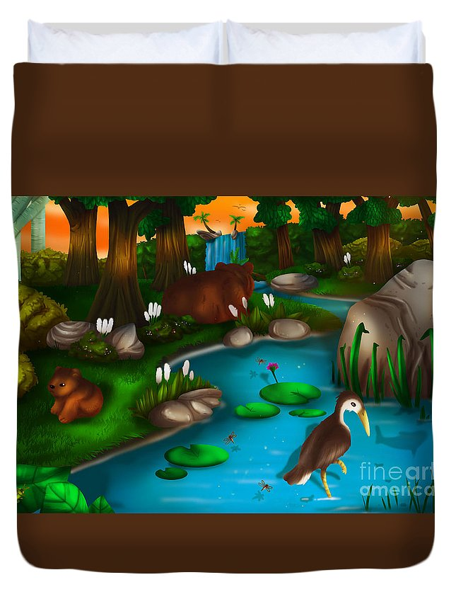 Forest Duvet Cover featuring the painting Evening In The Deep Green Forest by TheoFeatheR