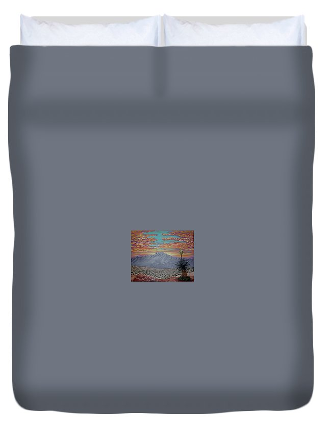 Desertscape Duvet Cover featuring the painting Evening In The Desert by Marco Morales