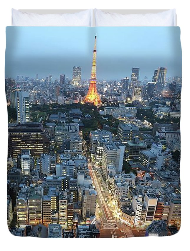 Tokyo Duvet Cover featuring the photograph evening in Tokyo by Happy Home Artistry