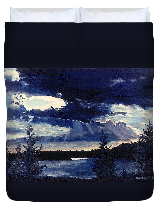 Landscape Duvet Cover featuring the painting Evening Lake by Steve Karol