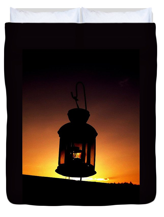 Lantern Duvet Cover featuring the photograph Evening Lantern by Tim Allen