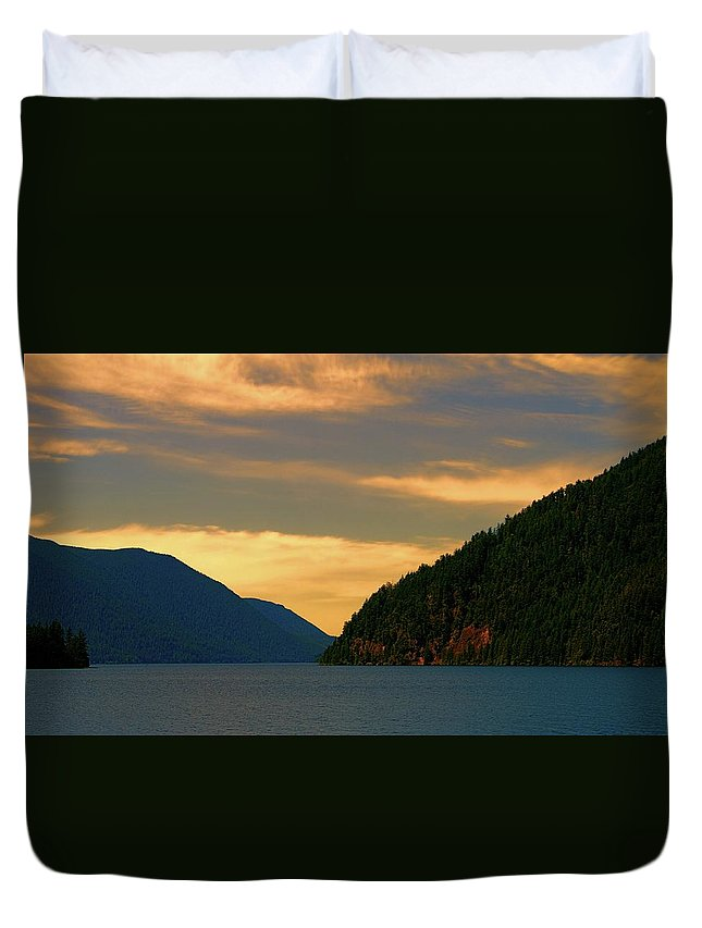 Evening Light At Lake Crescent Duvet Cover featuring the photograph Evening Light At Lake Crescent by Dan Sproul