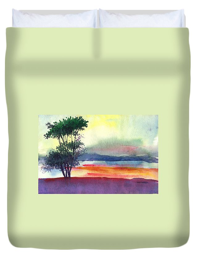 Water Color Duvet Cover featuring the painting Evening Lights by Anil Nene
