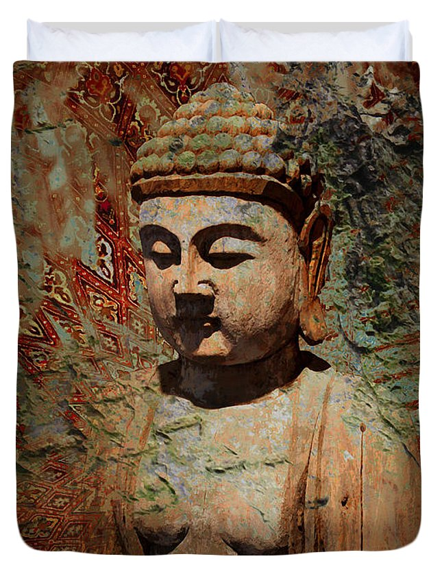 Buddha Duvet Cover featuring the painting Evening Meditation by Christopher Beikmann
