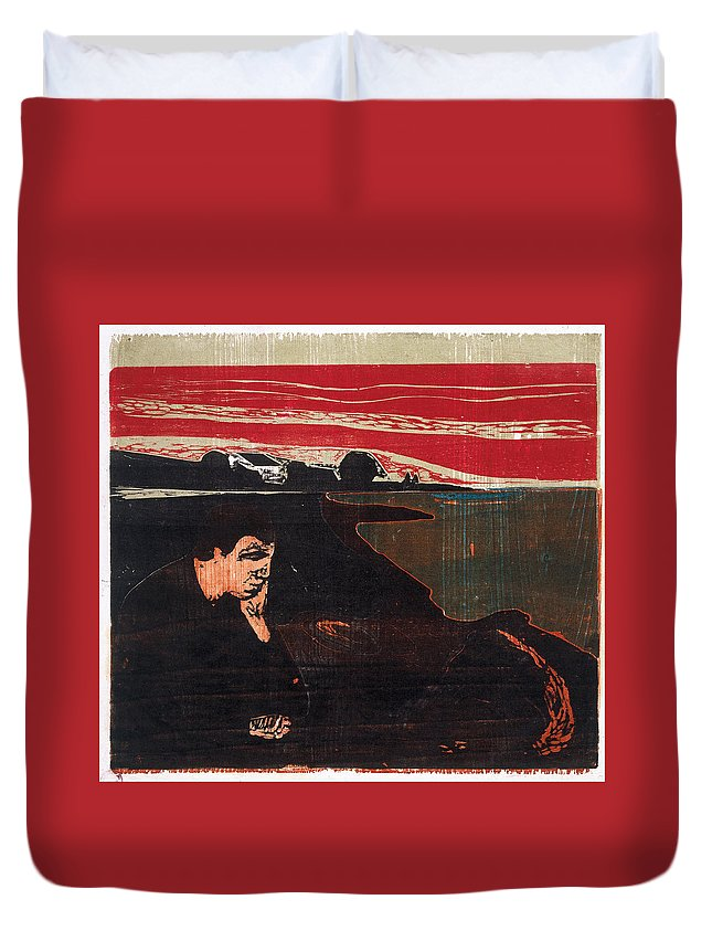 Edvard Munch Duvet Cover featuring the drawing Evening. Melancholy by Edvard Munch