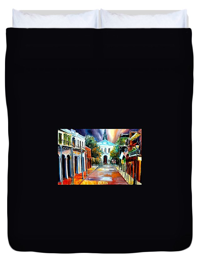 New Orleans Duvet Cover featuring the painting Evening On Orleans Street by Diane Millsap