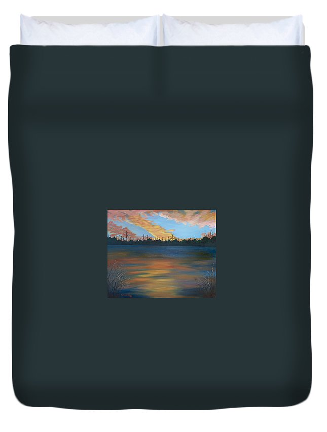Landscape Duvet Cover featuring the painting Evening Peace by Ruth Housley