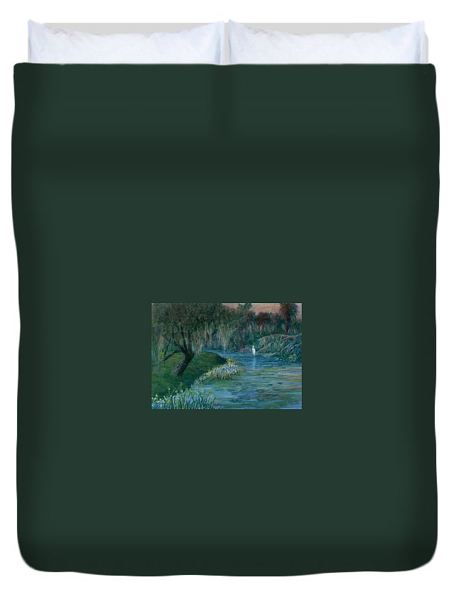 Low Country; Egrets; Lily Pads Duvet Cover featuring the painting Evening Shadows by Ben Kiger