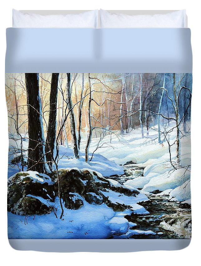 Winter Sunset Art Prints Duvet Cover featuring the painting Evening Shadows by Hanne Lore Koehler