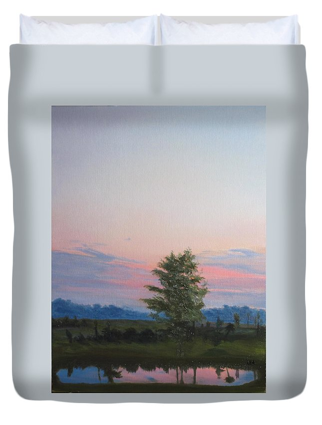 Landscape Duvet Cover featuring the painting Evening Sky by Lea Novak