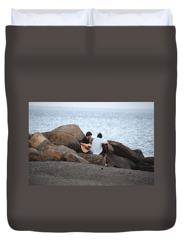 Rocks Duvet Cover featuring the photograph Evening Song by Donna Walsh