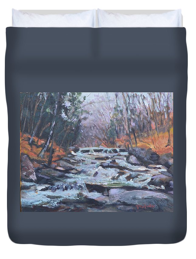 Vt Duvet Cover featuring the painting Evening Spillway by Alicia Drakiotes