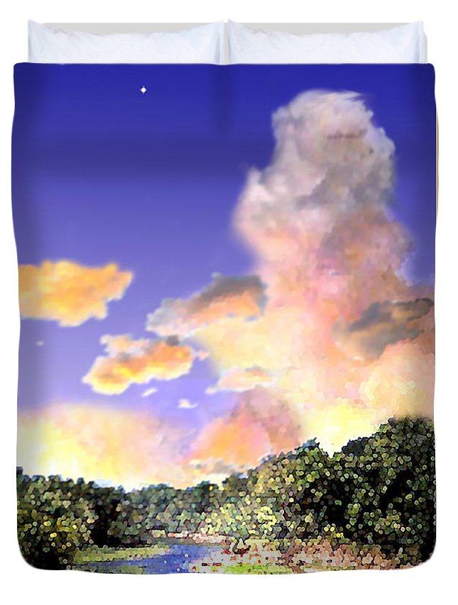 Landscape Duvet Cover featuring the digital art Evening Star by Steve Karol