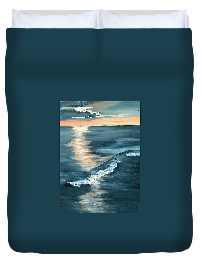 Beach Sunset Duvet Cover featuring the painting Evening Sunset by Racquel Morgan