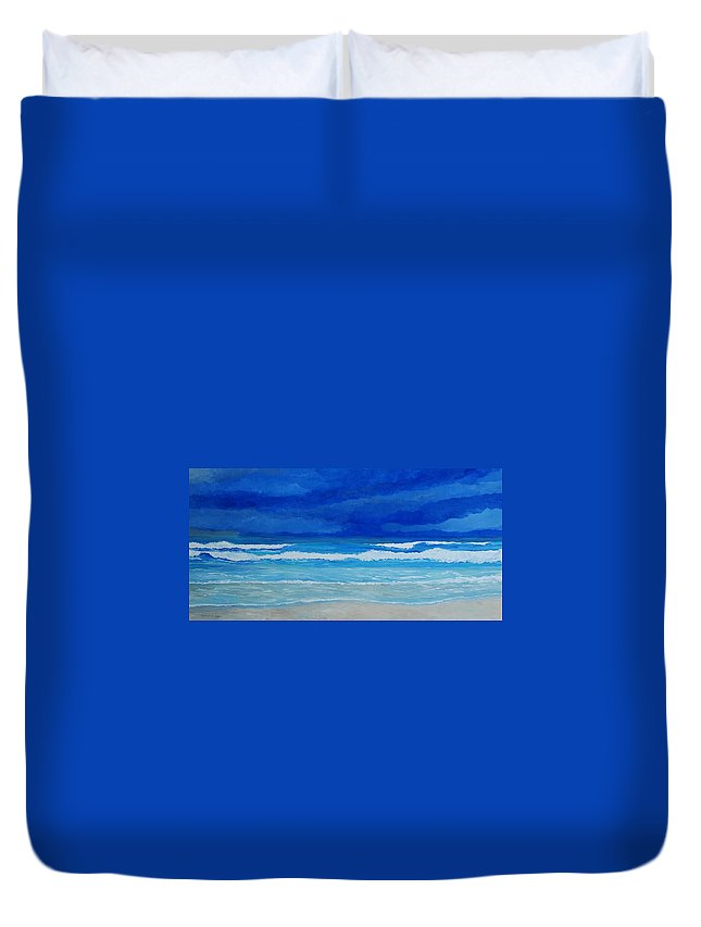Surf Duvet Cover featuring the painting Evening Surf by Keith Wilkie