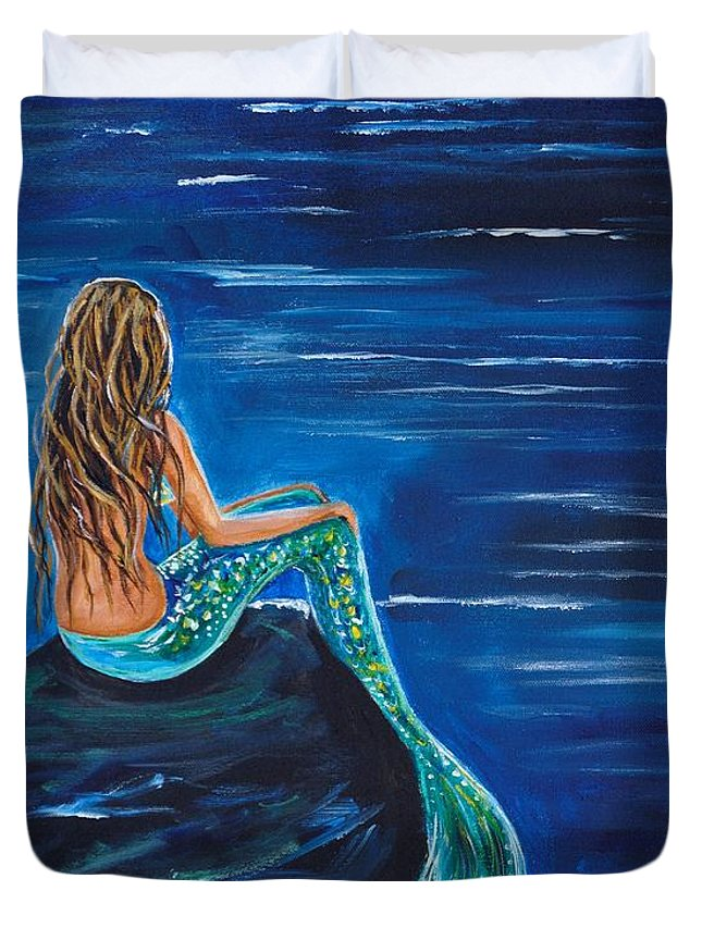 Mermaid Painting Duvet Cover featuring the painting Evening Tide Mermaid by Leslie Allen